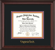 Image of Virginia Tech Diploma Frame - Mahogany Lacquer - w/Embossed VT Wordmark Only - Black on Maroon on Orange mat