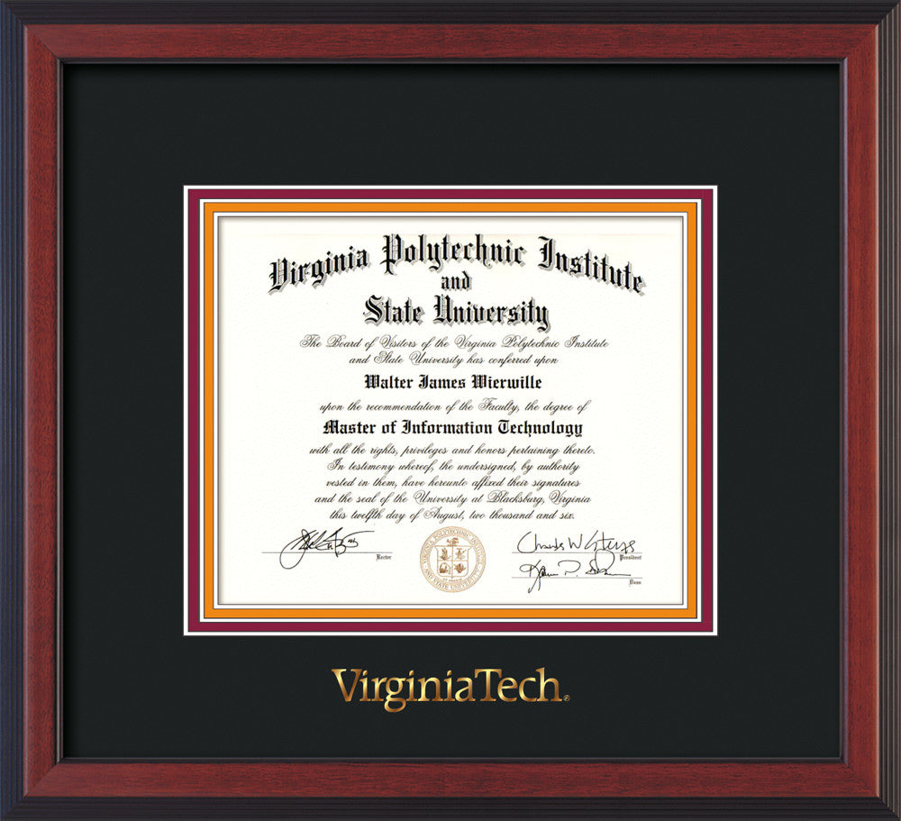 Virginia Tech Diploma Frame Cherry Reverse W Vt Seal Black