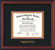 Image of Virginia Tech Diploma Frame - Cherry Reverse - w/Embossed VT Wordmark Only - Black on Maroon on Orange mat