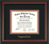 Image of Virginia Tech Diploma Frame - Rosewood - w/Embossed VT Wordmark Only - Black on Maroon on Orange mat