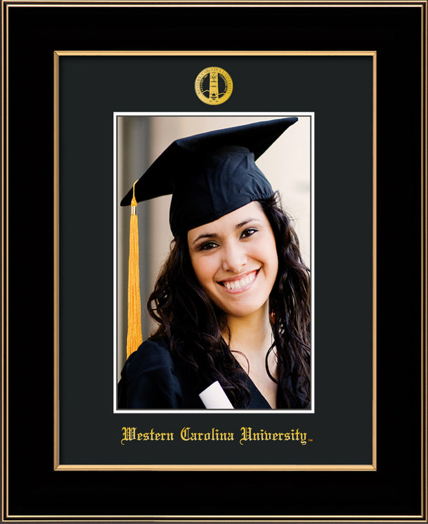 Image of Western Carolina University 5 x 7 Photo Frame - Black Lacquer - w/Official Embossing of WCU Seal & Name - Single Black mat