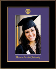 Image of Western Carolina University 5 x 7 Photo Frame - Black Lacquer - w/Official Embossing of WCU Seal & Name - Single Purple mat