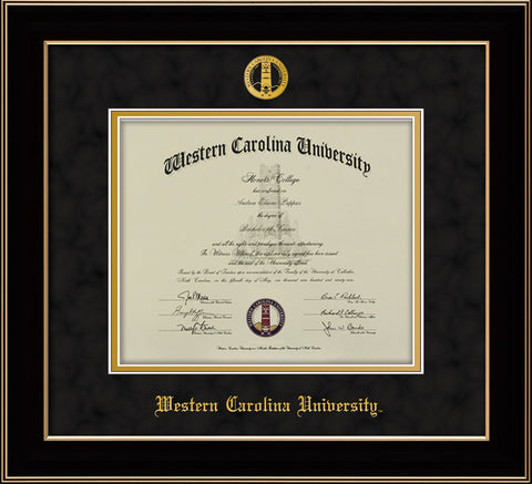 Image of Western Carolina University Diploma Frame - Black Lacquer - w/Embossed Seal & Name - Black Suede on Gold mats