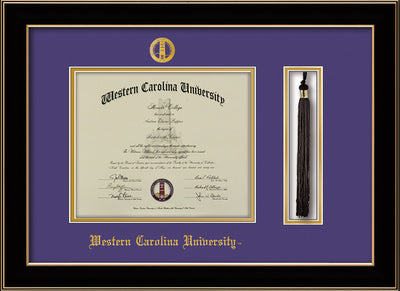Image of Western Carolina University Diploma Frame - Black Lacquer - w/Embossed Seal & Name - Tassel Holder - Purple on Gold mats