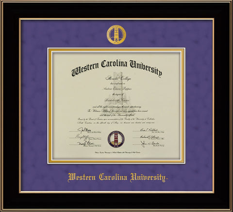 Image of Western Carolina University Diploma Frame - Black Lacquer - w/Embossed Seal & Name - Purple Suede on Gold mats