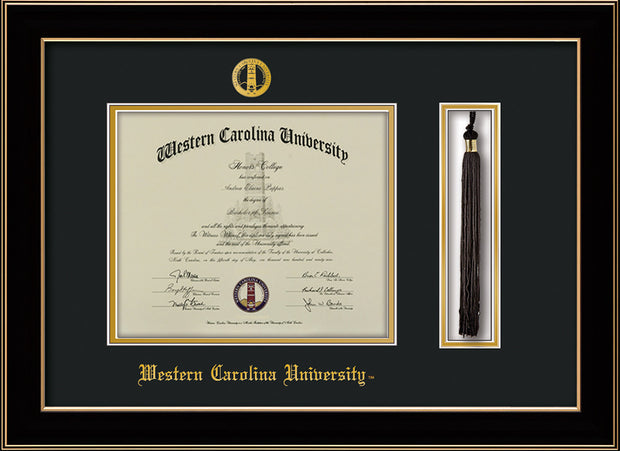 Image of Western Carolina University Diploma Frame - Black Lacquer - w/Embossed Seal & Name - Tassel Holder - Black on Gold mats