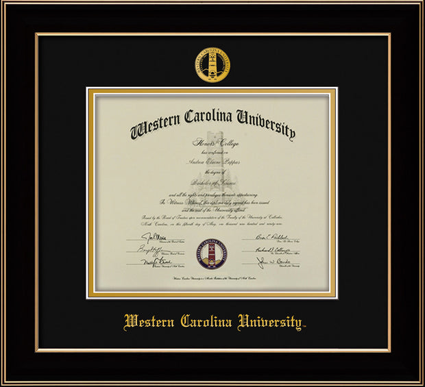 Image of Western Carolina University Diploma Frame - Black Lacquer - w/Embossed Seal & Name - Black on Gold mats