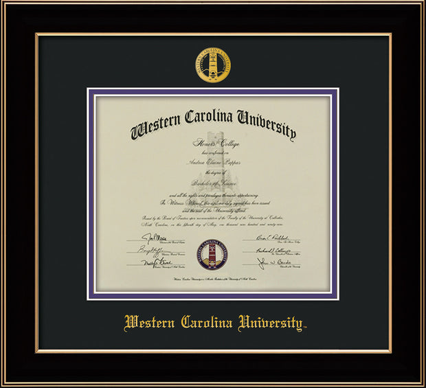 Image of Western Carolina University Diploma Frame - Black Lacquer - w/Embossed Seal & Name - Black on Purple mats