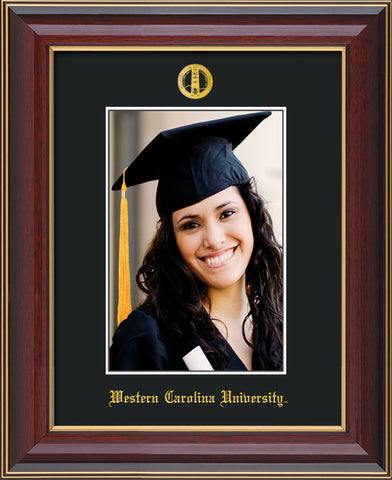 Image of Western Carolina University 5 x 7 Photo Frame - Cherry Lacquer - w/Official Embossing of WCU Seal & Name - Single Black mat