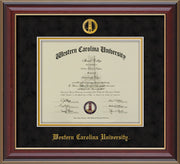 Image of Western Carolina University Diploma Frame - Cherry Lacquer - w/Embossed Seal & Name - Black Suede on Gold mats