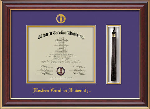 Image of Western Carolina University Diploma Frame - Cherry Lacquer - w/Embossed Seal & Name - Tassel Holder - Purple on Gold mats