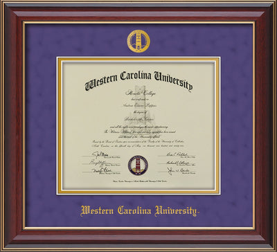 Image of Western Carolina University Diploma Frame - Cherry Lacquer - w/Embossed Seal & Name - Purple Suede on Gold mats