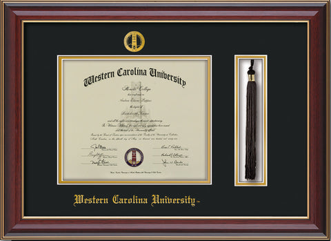 Image of Western Carolina University Diploma Frame - Cherry Lacquer - w/Embossed Seal & Name - Tassel Holder - Black on Gold mats
