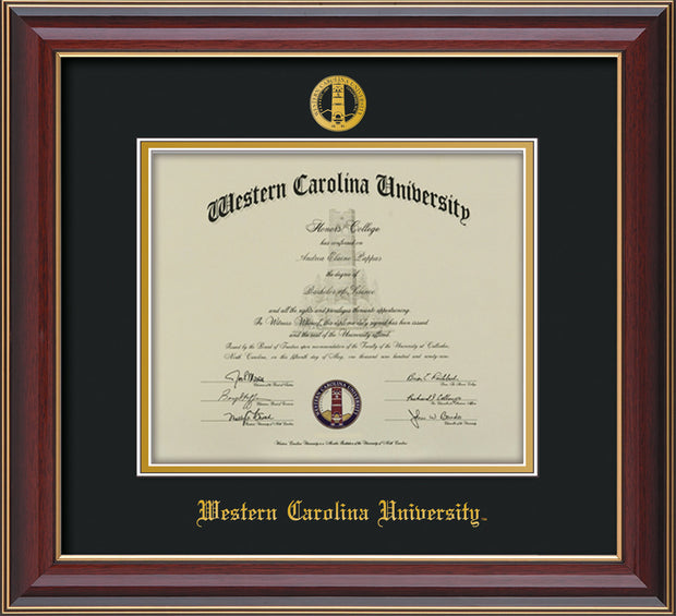 Image of Western Carolina University Diploma Frame - Cherry Lacquer - w/Embossed Seal & Name - Black on Gold mats