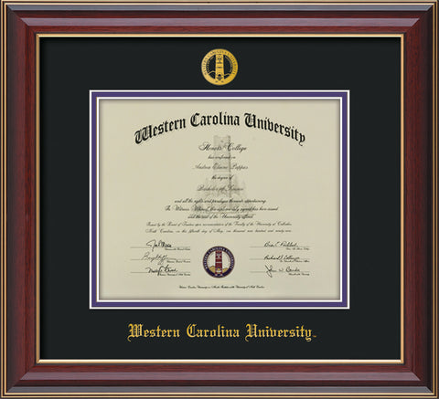 Image of Western Carolina University Diploma Frame - Cherry Lacquer - w/Embossed Seal & Name - Black on Purple mats