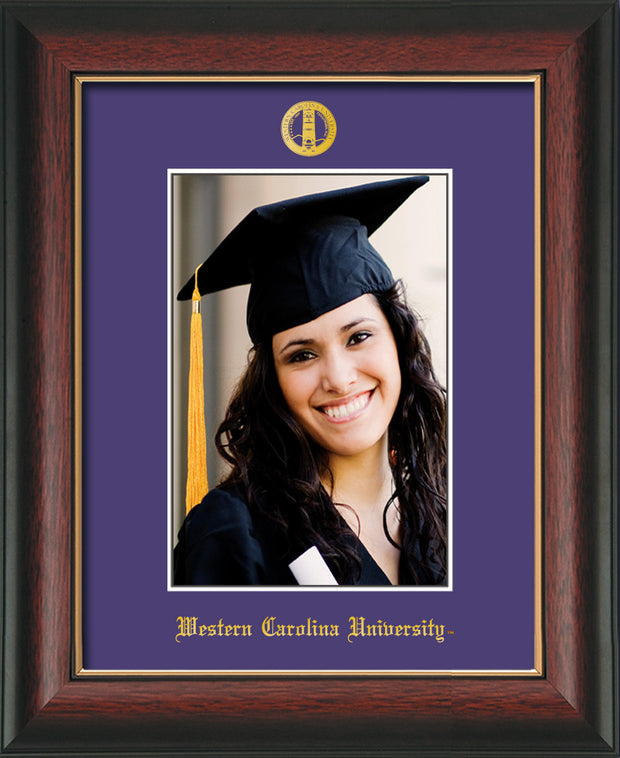 Image of Western Carolina University 5 x 7 Photo Frame - Rosewood w/Gold Lip - w/Official Embossing of WCU Seal & Name - Single Purple mat