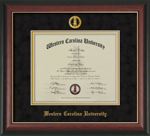Image of Western Carolina University Diploma Frame - Rosewood w/Gold Lip - w/Embossed Seal & Name - Black Suede on Gold mats