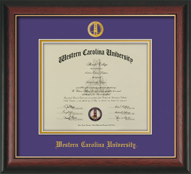 Image of Western Carolina University Diploma Frame - Rosewood w/Gold Lip - w/Embossed Seal & Name - Purple on Gold mats
