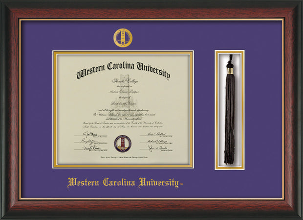 Image of Western Carolina University Diploma Frame - Rosewood w/Gold Lip - w/Embossed Seal & Name - Tassel Holder - Purple on Gold mats