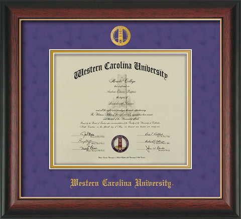 Image of Western Carolina University Diploma Frame - Rosewood w/Gold Lip - w/Embossed Seal & Name - Purple Suede on Gold mats