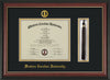 Image of Western Carolina University Diploma Frame - Rosewood w/Gold Lip - w/Embossed Seal & Name - Tassel Holder - Black on Gold mats