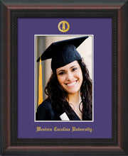 Image of Western Carolina University 5 x 7 Photo Frame - Mahogany Braid - w/Official Embossing of WCU Seal & Name - Single Purple mat