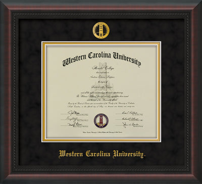 Image of Western Carolina University Diploma Frame - Mahogany Braid - w/Embossed Seal & Name - Black Suede on Gold mats