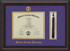 Image of Western Carolina University Diploma Frame - Mahogany Braid - w/Embossed Seal & Name - Tassel Holder - Purple on Gold mats