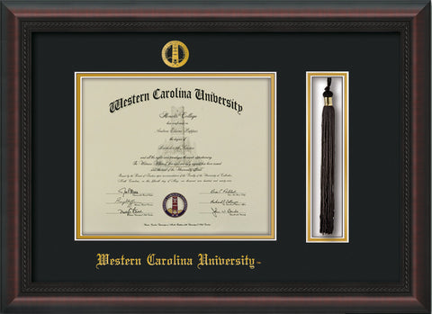 Image of Western Carolina University Diploma Frame - Mahogany Braid - w/Embossed Seal & Name - Tassel Holder - Black on Gold mats
