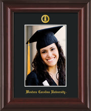 Image of Western Carolina University 5 x 7 Photo Frame - Mahogany Lacquer - w/Official Embossing of WCU Seal & Name - Single Black mat
