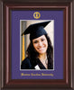 Image of Western Carolina University 5 x 7 Photo Frame - Mahogany Lacquer - w/Official Embossing of WCU Seal & Name - Single Purple mat
