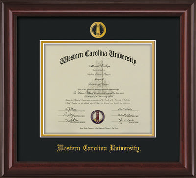 Image of Western Carolina University Diploma Frame - Mahogany Lacquer - w/Embossed Seal & Name - Black on Gold mats