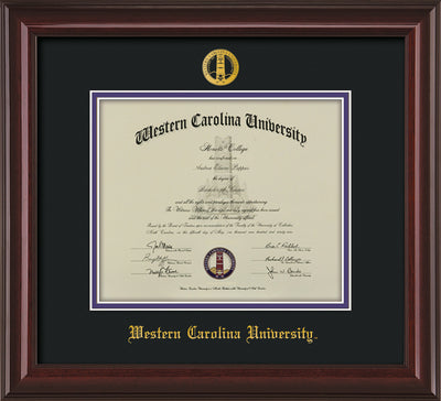 Image of Western Carolina University Diploma Frame - Mahogany Lacquer - w/Embossed Seal & Name - Black on Purple mats