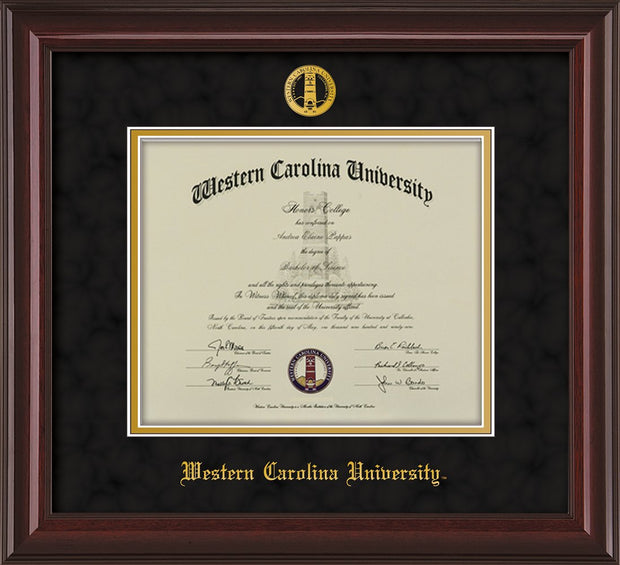 Image of Western Carolina University Diploma Frame - Mahogany Lacquer - w/Embossed Seal & Name - Black Suede on Gold mats