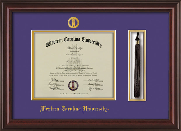 Image of Western Carolina University Diploma Frame - Mahogany Lacquer - w/Embossed Seal & Name - Tassel Holder - Purple on Gold mats