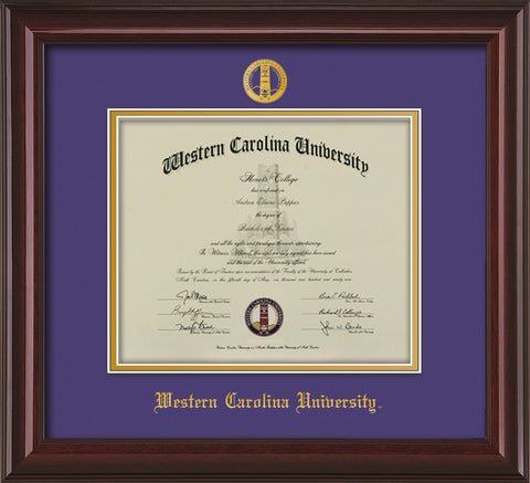 Image of Western Carolina University Diploma Frame - Mahogany Lacquer - w/Embossed Seal & Name - Purple on Gold mats