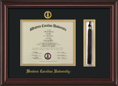 Image of Western Carolina University Diploma Frame - Mahogany Lacquer - w/Embossed Seal & Name - Tassel Holder - Black on Gold mats