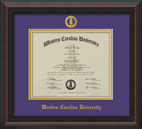 Image of Western Carolina University Diploma Frame - Mahogany Braid - w/Embossed Seal & Name - Purple on Gold mats