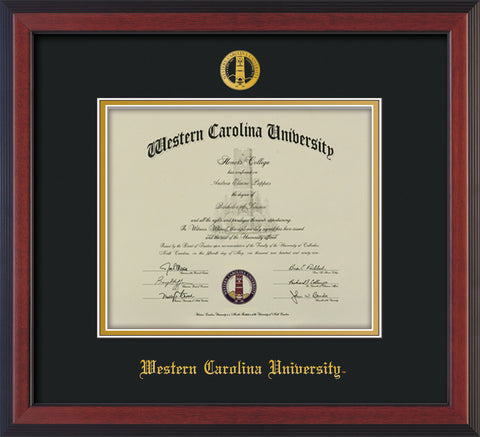 Image of Western Carolina University Diploma Frame - Cherry Reverse - w/Embossed Seal & Name - Black on Gold mats