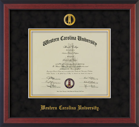 Image of Western Carolina University Diploma Frame - Cherry Reverse - w/Embossed Seal & Name - Black Suede on Gold mats