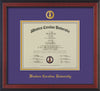Image of Western Carolina University Diploma Frame - Cherry Reverse - w/Embossed Seal & Name - Purple on Gold mats