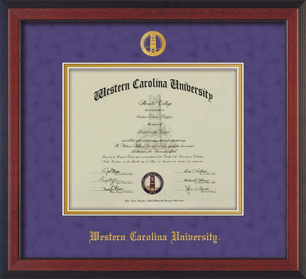 Image of Western Carolina University Diploma Frame - Cherry Reverse - w/Embossed Seal & Name - Purple Suede on Gold mats