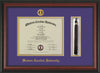 Image of Western Carolina University Diploma Frame - Rosewood - w/Embossed Seal & Name - Tassel Holder - Purple on Gold mats