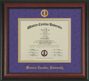 Image of Western Carolina University Diploma Frame - Rosewood - w/Embossed Seal & Name - Purple Suede on Gold mats
