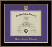 Image of Western Carolina University Diploma Frame - Black Lacquer - w/Embossed Seal & Name - Purple on Gold mats