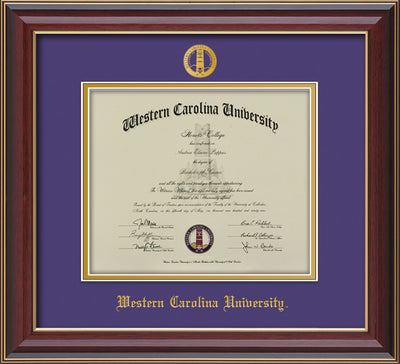 Image of Western Carolina University Diploma Frame - Cherry Lacquer - w/Embossed Seal & Name - Purple on Gold mats