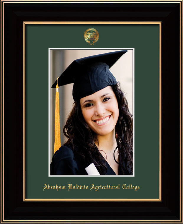 Image of Abraham Baldwin Agricultural College 5 x 7 Photo Frame - Black Lacquer - w/Official Embossing of ABAC Seal & Name - Single Green mat