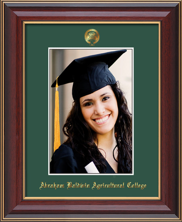 Image of Abraham Baldwin Agricultural College 5 x 7 Photo Frame - Cherry Lacquer - w/Official Embossing of ABAC Seal & Name - Single Green mat