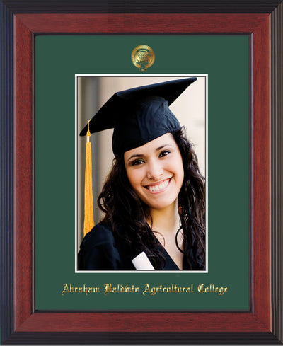 Image of Abraham Baldwin Agricultural College 5 x 7 Photo Frame - Cherry Reverse - w/Official Embossing of ABAC Seal & Name - Single Green mat