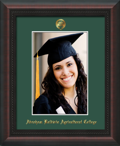 Image of Abraham Baldwin Agricultural College 5 x 7 Photo Frame - Mahogany Braid - w/Official Embossing of ABAC Seal & Name - Single Green mat